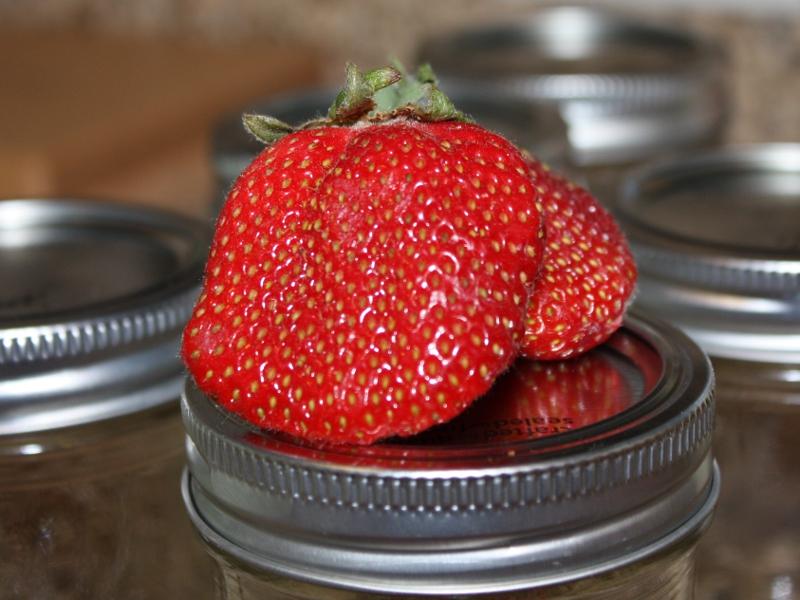 Strawberry on jar