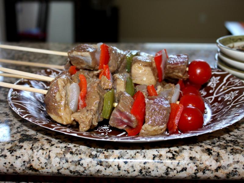 Beef, Chicken and Shrimp Kabobs
