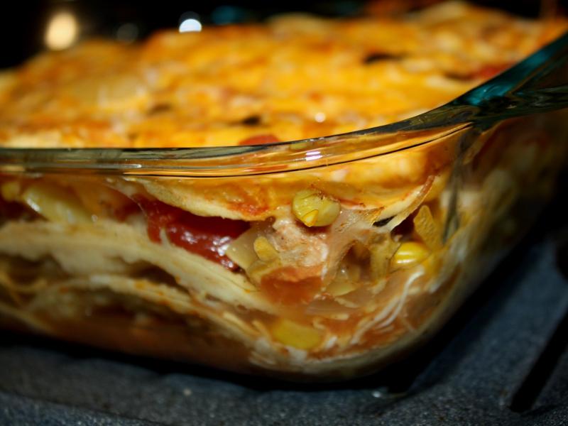 Texmex lasagna baked