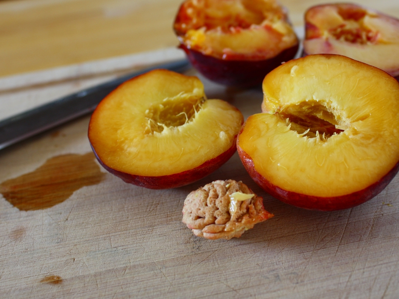 grilled peaches cut