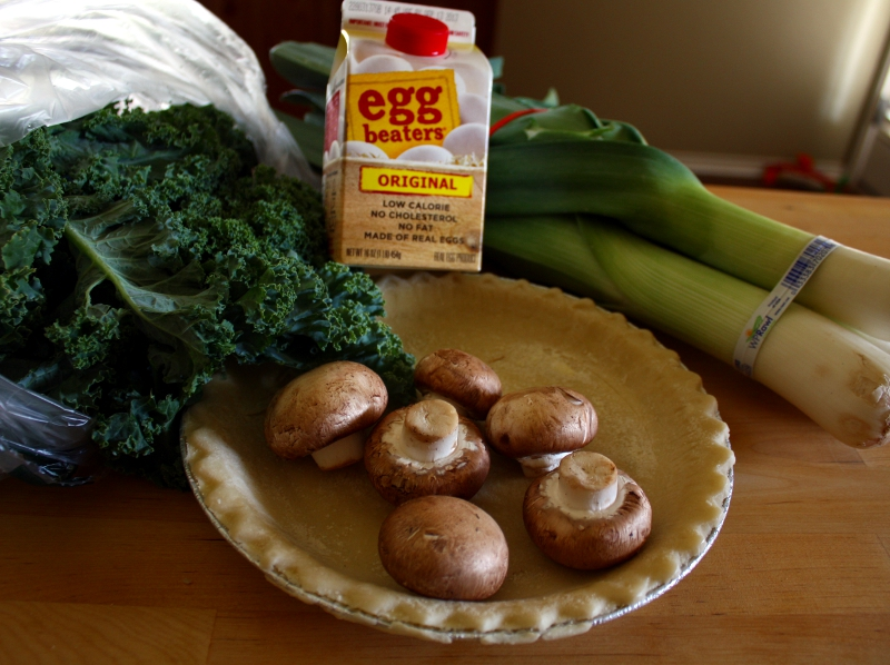 Leek and kale quiche ingredients