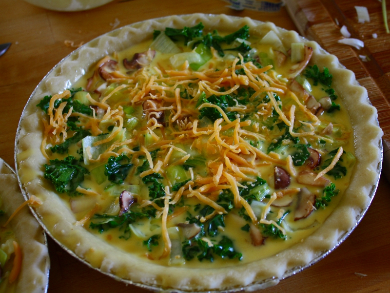 leek and kale quiche prebake